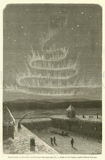 Aurore boreale, vue de Noulato, le 27 decembre 1866. Illustration for Le Tour Du Monde (Hachette, 1869).