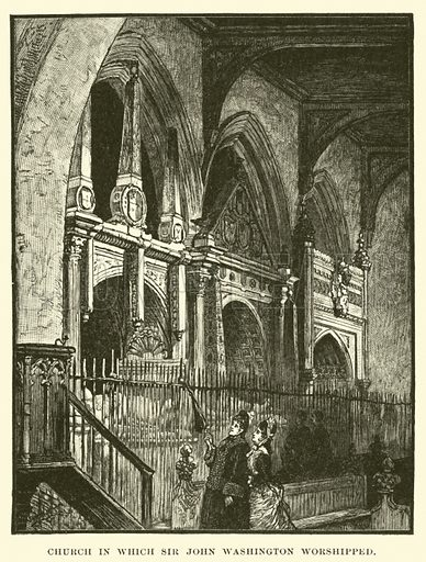 Church in which Sir John Washington worshipped. Illustration for Old Times in the Colonies by Charles Carleton Coffin (Harper, 1880).