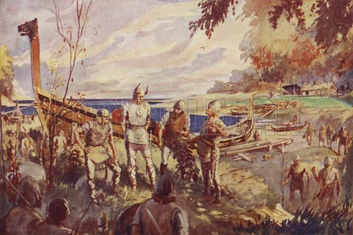 The Vikings discover America. Illustration for A Picture History of Canada by Kathleen Moore and Jessie McEwen (Thomas Nelson, c 1930).