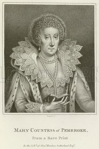 Mary, Countess of Pembroke. Illustration for A Catalogue of the Royal and Noble Authors of England, Scotland, and Ireland by Horace Walpole (John Scott, 1806).
