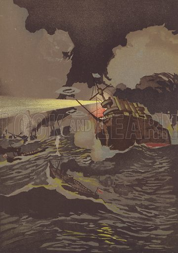Naval battle off Port Arthur. Illustration for The Russo-Japanese War (Kinkodo and Maruya, 1904-05).