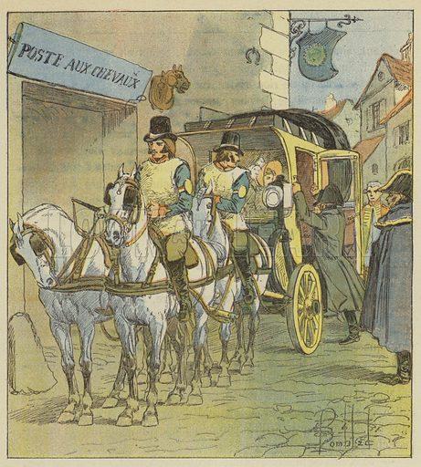L'Empereur monte dans la voiture de Marie-Louise. Illustration for Le Memorial de Saint-Helene by Le Comte De Las Cases (Emmanuel de Las Cases) with pictures by L Bombled (Garnier, 1895).