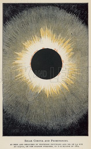 Solar Corona and Prominences, as seen and measured by Professor Pritchard and Mr De La Rue at Cujuli, on the Spanish Pyrenees, in the eclipse of 1860. Illustration for Sun, Moon, and Stars, Astronomy for Beginners, by Agnes Giberne (Seeley, 1894).