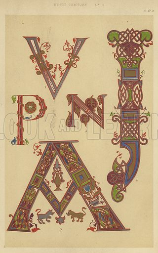 Ninth Century. Illustration for The Art of Illuminating illustrated by Borders, Initial Letters, and Alphabets by W R Tymms (Day and Son, 1860).