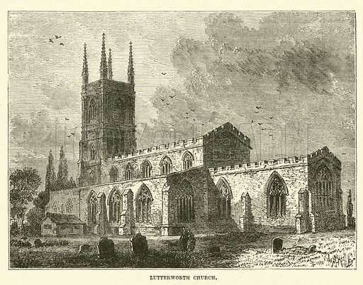 Lutterworth Church. Illustration for The History of Protestantism by J A Wylie (Cassell, 1889).