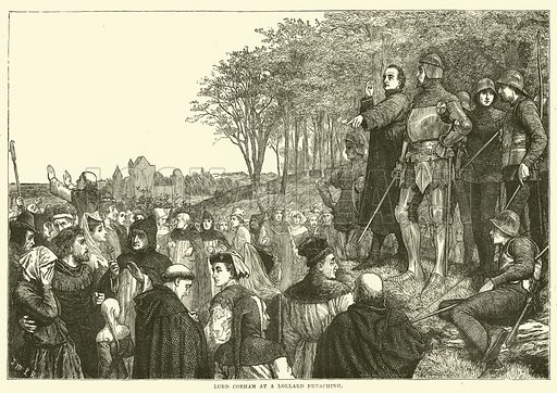 Lord Cobham at a Lollard Preaching. Illustration for The History of Protestantism by J A Wylie (Cassell, 1889).