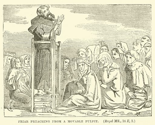 Friar preaching from a Movable Pulpit. Illustration for The History of Protestantism by JA Wylie (Cassell, 1889).