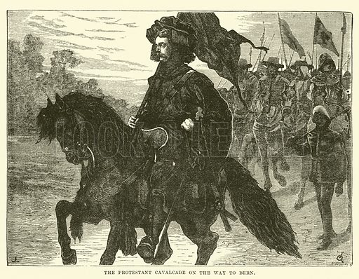 The Protestant Cavalcade on the Way to Bern. Illustration for The History of Protestantism by JA Wylie (Cassell, 1889).
