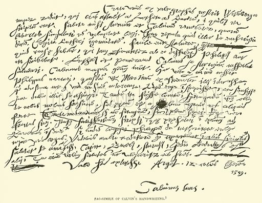 Fac-simile of Calvin's Handwriting. Illustration for The History of Protestantism by J A Wylie (Cassell, 1889).