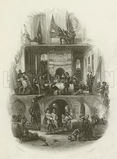 Many fair mansions were plundered and despoiled. Illustration for The Great Civil War of the times of Charles I and Cromwell by Richard Cattermole (Bohn, 1857).