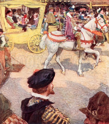 Shakespeare admiring the fine horses in Cheapside, London