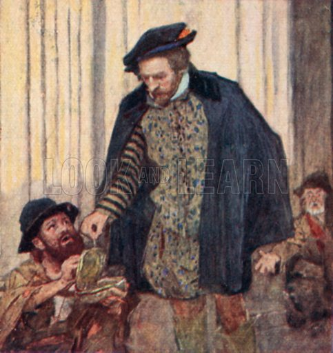 Shakespeare giving a penny to a beggar