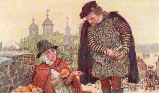 Shakespeare buying a twopenny orange from a fruitseller on Tower Hill, London