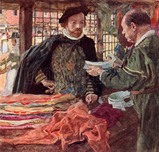 Shakespeare at a Mercer's to buy himself one of the new falling collars which are replacing ruffs