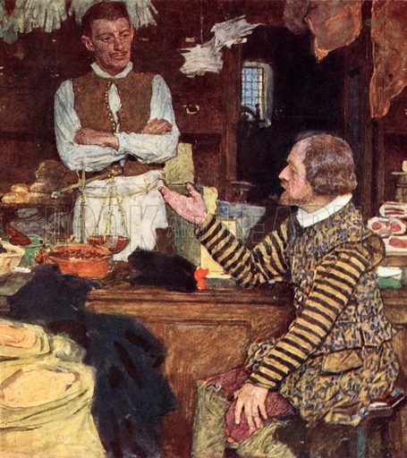 Shakespeare calls at a Grocer's Shop in Bucklersbury for a chat with John Sadler, an apprentice from Stratford