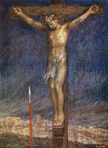 """The King's Triumph, """"It is finished."""" Illustration for A Child's Life of Christ by Mabel Dearmer (Methuen, 1906)."""