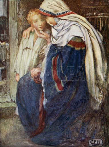 """The Quiet Childhood, """"Mary kept all these things and pondered them in her heart."""" Illustration for A Child's Life of Christ by Mabel Dearmer (Methuen, 1906)."""