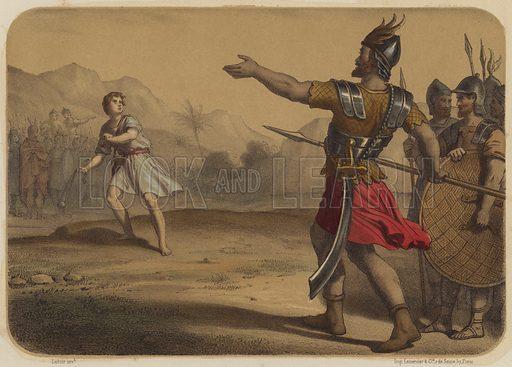 Goliath Defie David. Illustration for La Bible en Estampes (Amedee Bedelet, c 1880).