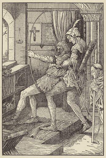 Robin shoots his last shaft. Illustration for Bold Robin Hood (Harper, 1912).