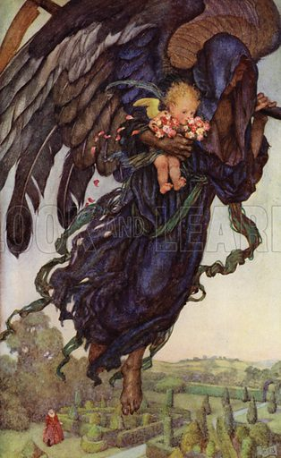 Gather ye rosebuds while ye may, Old Time is still a-flying. Illustration for The Book of Old English Songs and Ballads (Hodder and Stoughton, c 1915).