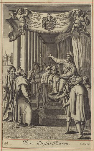 Moses adresses Pharoa. Illustration for The History of the Old and New Testament translated from De Royaumont (2nd edn, 1701).