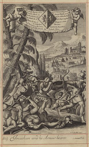 Jonathan and his Armour bearer. Illustration for The History of the Old and New Testament translated from De Royaumont (2nd edn, 1701).