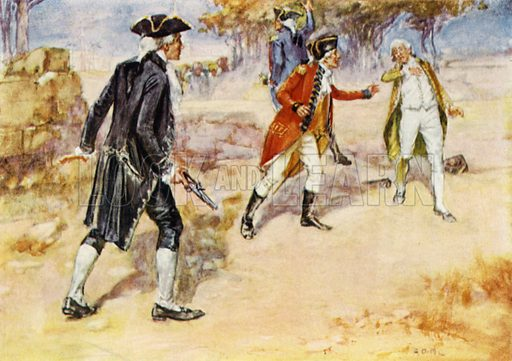 Duel between Warren Hastings and Philip Francis. Illustration for India by Victor Surridge (Jack, c 1914).