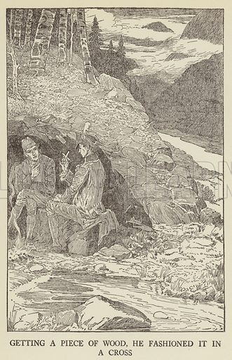 Illustration for Kidnapped being Memoirs of the Adventures of David Balfour in the year 1751 by Robert Louis Stevenson (Harper, 1921).