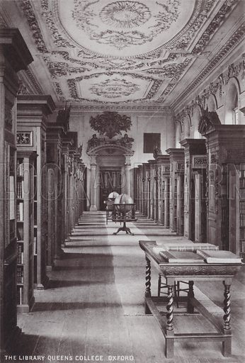 The Library Queen's College, Oxford. Illustration for Forty-Eight Selected Photographs of Oxford (Alden, c 1895).