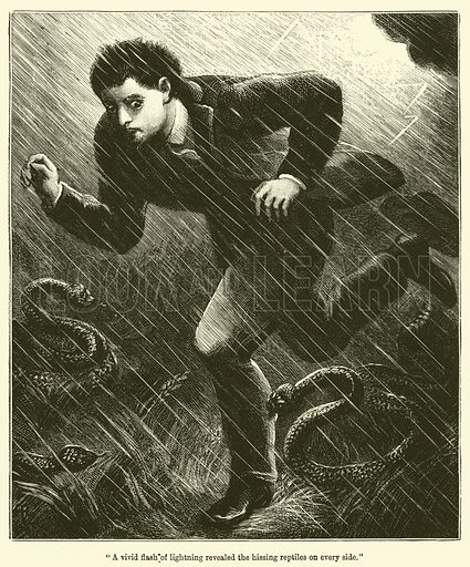"""""""A vivid flash of lightning revealed the hissing reptiles on every side."""" Illustration for Chatterbox (1893)."""