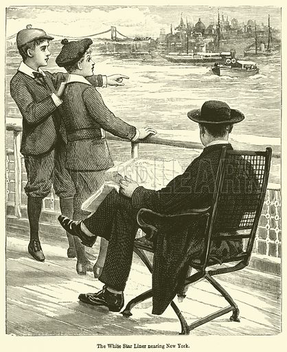 The White Star Liner nearing New York. Illustration for Chatterbox (1898).