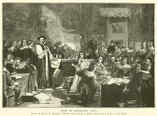 Trial of Archbishop Laud. Illustration for The Church of England by H D M Spence (Cassell, 1905).