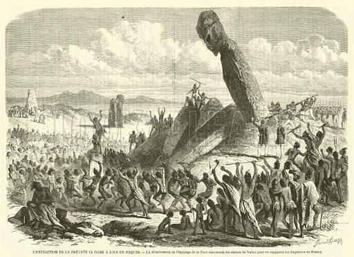 L'expedition de la fregate La Flore a l'ile de Paques, Un detachement de l'equipage de la Flore …