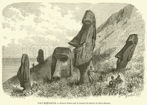 L'ile de Paques, Statues situees sur le versant du cratere de Rano-Raraku