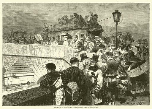 La crue de la Seine, Les curieux devant l'etiage du Pont-Royal. Illustration for L'Illustration, Journal Universel, 28 December 1872.
