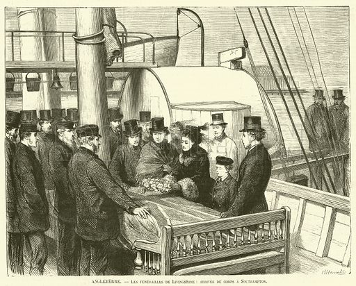 Angleterre, Les funerailles de Livingstone, arrivee du corps a Southampton. Illustration for L'Illustration, Journal Universel, 2 May 1874.