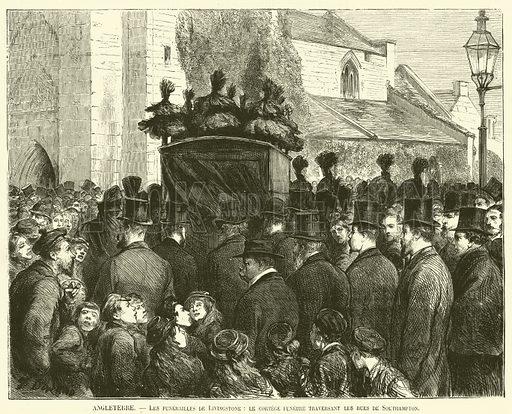 Angleterre, Les funerailles de Livingstone, le cortege funebre traversant les rues de Southampton. Illustration for L'Illustration, Journal Universel, 2 May 1874.