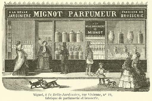 Mignot, a la Belle-Jardiniere, rue Vivienne, no 19, fabrique de parfumerie et brosserie