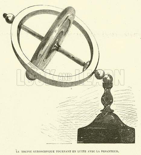 La toupie gyroscopique tournant en lutte avec la pesanteur. Illustration for L'Illustration, Journal Universel, 18 January 1873.