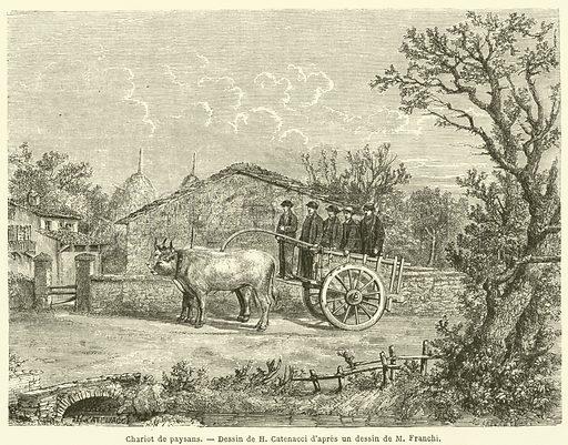 Chariot de paysans. Illustration for Le Tour Du Monde (Hachette, 1866 1H).