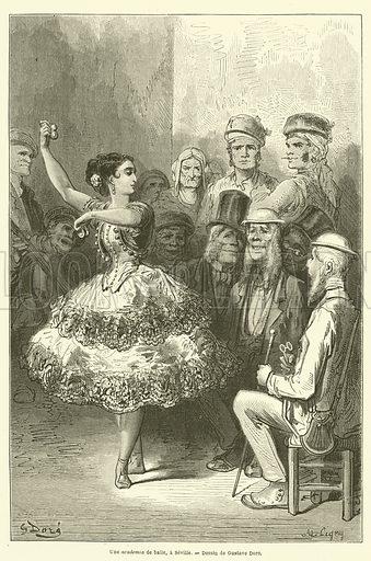 Une academia de baile, a Seville. Illustration for Le Tour Du Monde (Hachette, 1866 1H).