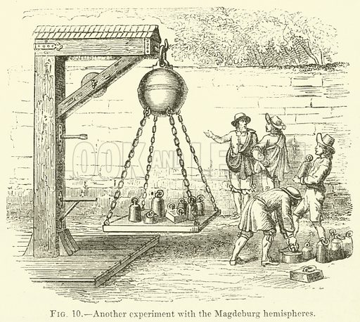Another experiment with the Magdeburg hemispheres. Illustration for The Illustrated Magazine of Art (Cassell, 1853).