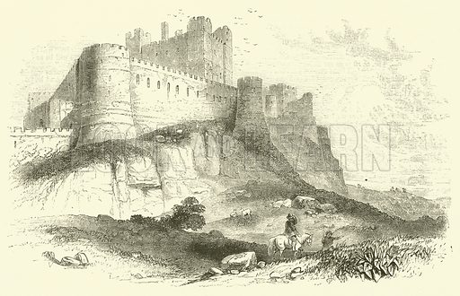 Bamborough Castle. Illustration for The History and Legends of Old Castles And Abbeys (John Dicks, c 1875).
