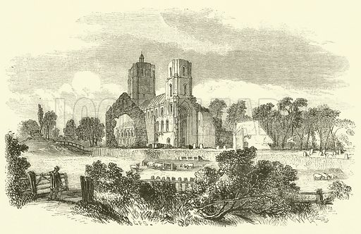 Wymondham Abbey. Illustration for The History and Legends of Old Castles And Abbeys (John Dicks, c 1875).