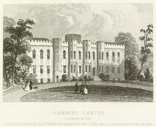 Cardiff Castle, Glamorganshire. Illustration for England and Wales Delineated (Tallis, c 1840).