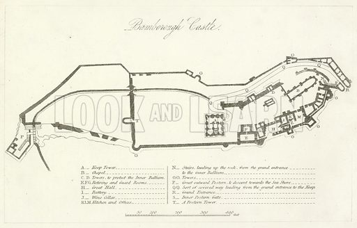 Bamborough Castle. Illustration for England and Wales Delineated (Tallis, c 1840).