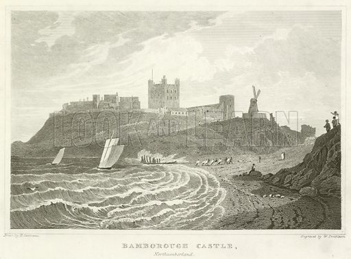 Bamborough Castle, Northumberland. Illustration for England and Wales Delineated (Tallis, c 1840).