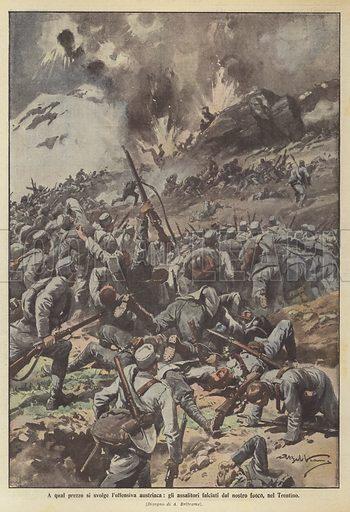 A qual prezzo si svolge l'offensiva austriaca, gli assalitori falciati dal nostro fuoco, nel Trentino. Illustration for La Domenica Del Corriere, 4-11 June 1916.