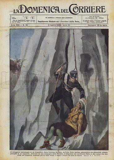 Il coraggioso salvataggio di un brigadiere. Certa Caterina Feichter, dell'alta Valle Aurina, attraversava un ghiacciaio, quando precipito in un crepaccio. Avvertito da una compagna della Feichter, il brigadiere dei carabinieri Palla si fece calare con una corda nel crepaccio, profondo piu di venti metri, e riusci a trarre in salvo la donna. Illustration for La Domenica del Corriere, 5 August 1928.