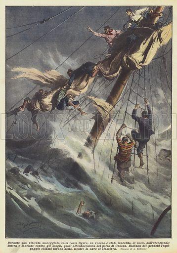 Durante una violenta mareggiata sulla costa ligure, un veliero e stato investito, di notte …